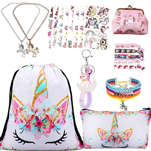 RLGPBON Unicorn Gifts for Girls 5 Pack Drawstring Backpack/Makeup Bag/Unicorn Pendant Necklace/Bracelet/Hair Ties