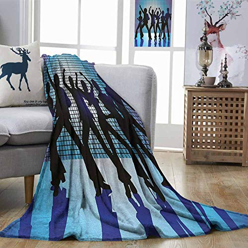 DILITECK 70s Party Super Soft Blanket Silhouettes of
