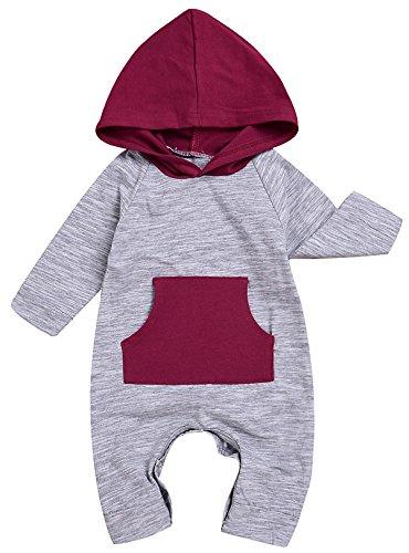 Baby Long Sleeve Hoodie Romper Bodysuit (Grey) - 4