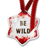 Christmas Ornament Be Wild Cheetah Cat Animal Print, red - Neonblond