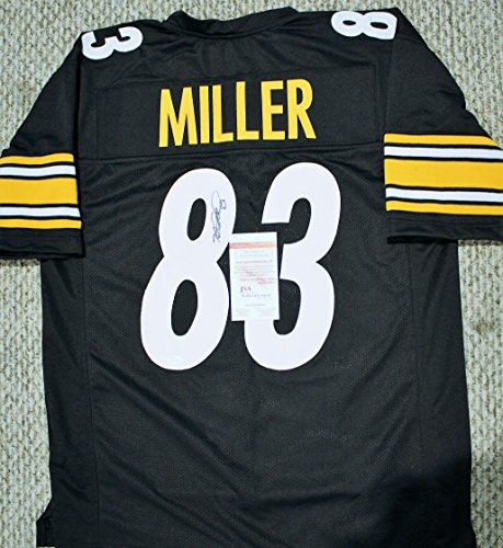 Autographed Heath Miller Steelers Custom Jersey - with JSA Witness COA ()