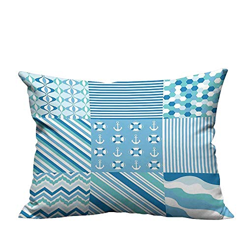 YouXianHome Sofa Waist Cushion Cover Dots Strip Zig Zag Chevr Anchor Life Belt Decorative for Kids Adults(Double-Sided Printing) 26x26 inch ()