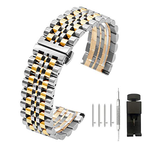 20mm Solid Stainless Steel Bracelet Straps Quick Release Watch Band 7 Beads Butterfly Deployment Clasp Buckle Push Button Metal Replacement Band,Silver+Rose Gold