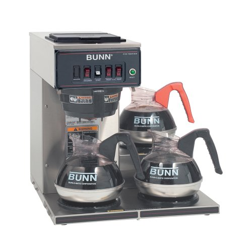 Bunn 12950.0112 CWT-3 Automatic Commercial Coffee Brewer with 3 Lower Warmers (120V)