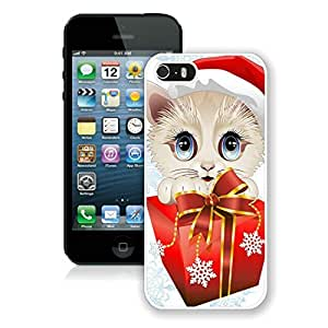 Special Custom Made Iphone 5S Protective Cover Case Christmas Cat iPhone 5 5S TPU Case 22 White
