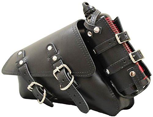 La Rosa Harley-Davidson Sportster XL Black Leather Left Saddle Bag with Integrated Fuel Bottle Set