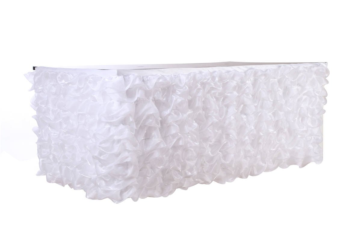 Stuffwholesale Handmade Ruffled Table Skirt Birthday Party Baby Shower Wedding Prom Table Decoration, 9Ft Long by 30'' High (White) by Stuffwholesale