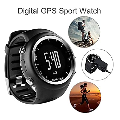Hopezone North Edge GPS Running Watch Outdoor Fitness Multi-Function Smart Watch Black