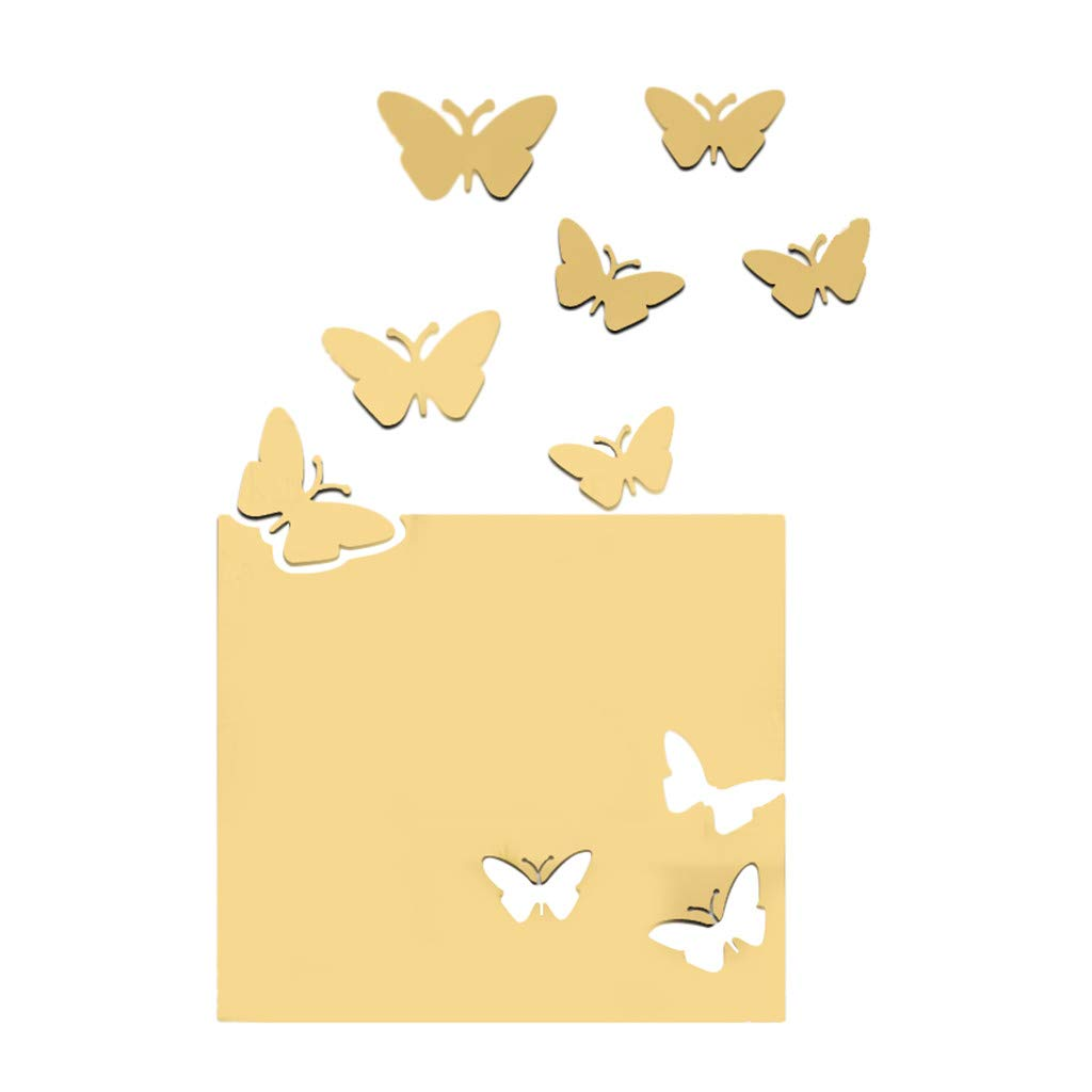 Alimao Acrylic Refinement 3D 2019 New Butterfly Combination Mirror Effect Wall Sticker Decal Home Decor Gold