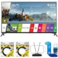 "LG 49"" Super UHD 4K HDR Smart LED TV 2017 Model (49UJ7700) with 2x General Brand 6ft High Speed HDMI Cable Black, RCA Durable HDTV and FM Antenna & Universal Screen Cleaner for LED TVs"