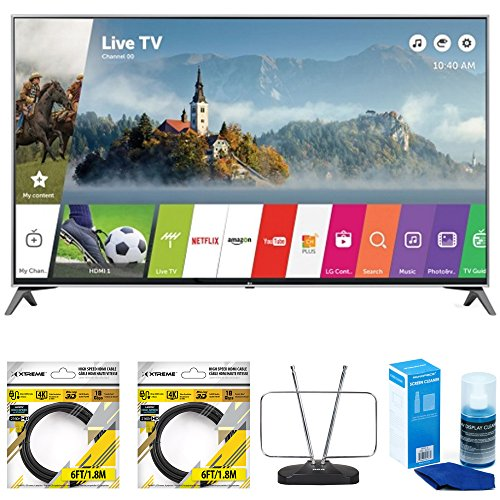 LG-49-Super-UHD-4K-HDR-Smart-LED-TV-2017-Model-49UJ7700-with-2x-General-Brand-6ft-High-Speed-HDMI-Cable-Black-RCA-Durable-HDTV-and-FM-Antenna-Universal-Screen-Cleaner-for-LED-TVs