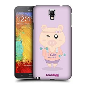 AIYAYA Samsung Case Designs Dumbbells Let's Get Pigsical Protective Snap-on Hard Back Case Cover for Samsung Galaxy Note 3 Neo N7505