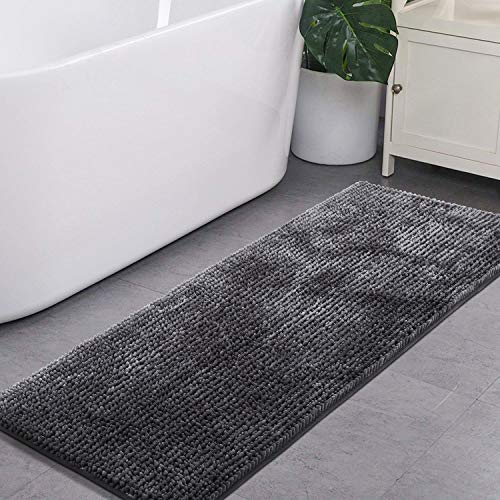 Runner Bath (LOCHAS Dark Grey Bathroom Rugs Runner Non Slip Chenille Bath Rug 24 x 60 Inch, Super Soft Absorbent Bath Mats Runners for Bathroom, Shining Plush Shaggy Kitchen Rugs, Machine Wash/Dry)