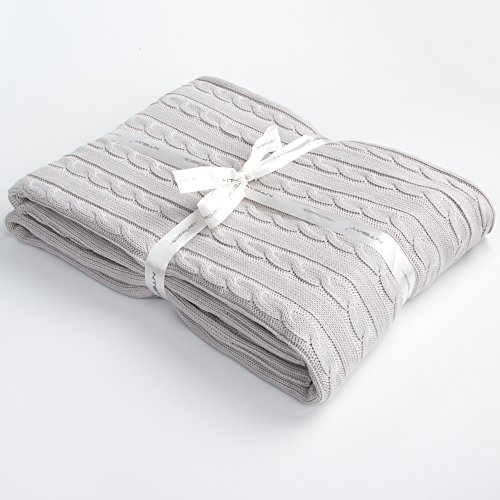 Sweater Wool Plush (NTBAY 100% Cotton Cable Knit Throw Blanket Super Soft Warm Multi Color (51 x 67 inches, Silver Gray))