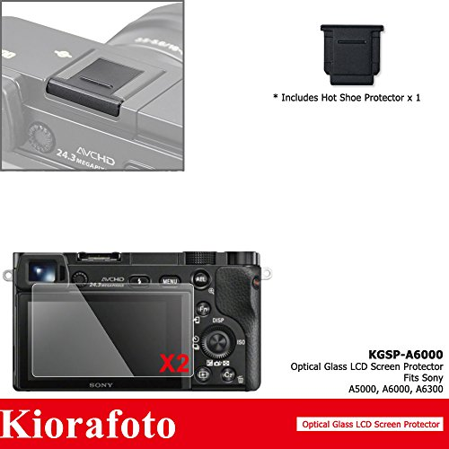 Kiorafoto 2 Pack 9H HD Optical Tempered Glass Screen Protector + Hot Shoe Cover Dustproof Moistureproof Cap for Sony Alpha ILCE-6300 ILCE-6000 ILCE-5000 Camera A6300 A6000 A5000 Glass Screen Protector