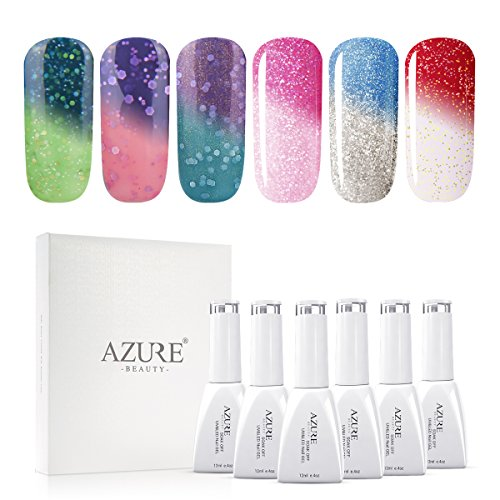 UV LED Gel Nail Polish Set Mood Color Changing Gel Polish Set, 12ML 6 Colors by AZUREBEAUTY