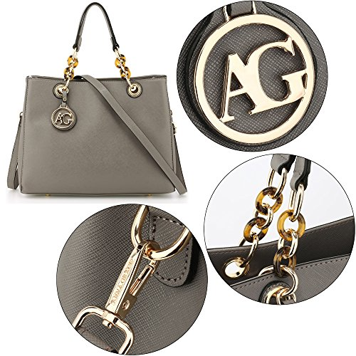 Faux 3 Bags Ladies Leather Womens Office Designer College Large Shoulder Handbags Grey Design xwqSPgI