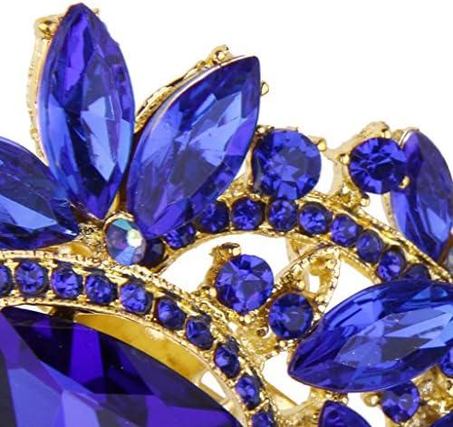 女性 結婚式 スカーフ クリスタル ラインストーンのブローチ ブローチピン 青の宝石