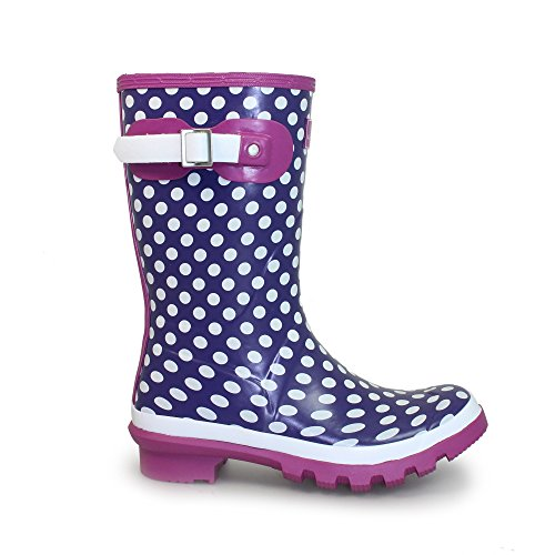 Lunar Dotty' Rubber Short Ankle Wellington, Purple and White, Ladies 3,4,5,6,7,8 Purple