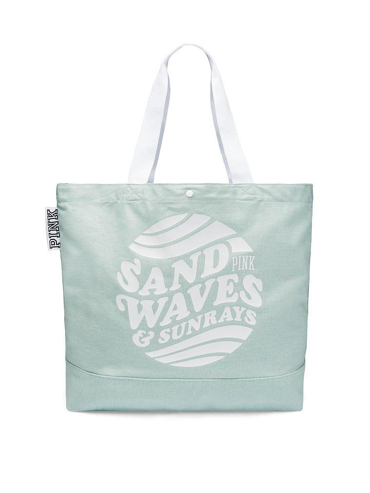 Victorias Secret Pink Washed Canvas Tote Bag Northstar Seafoam