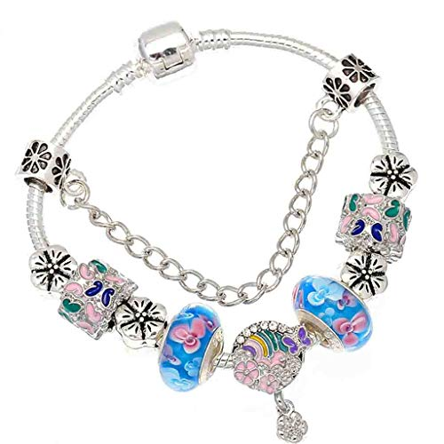 Gift for Girlfriend Western Crystal Blue Murano Beads Charm Bracelet for Ladies Silver Chain Fits Fine Bracelets for Ladies Pulsera Mujer Decoration