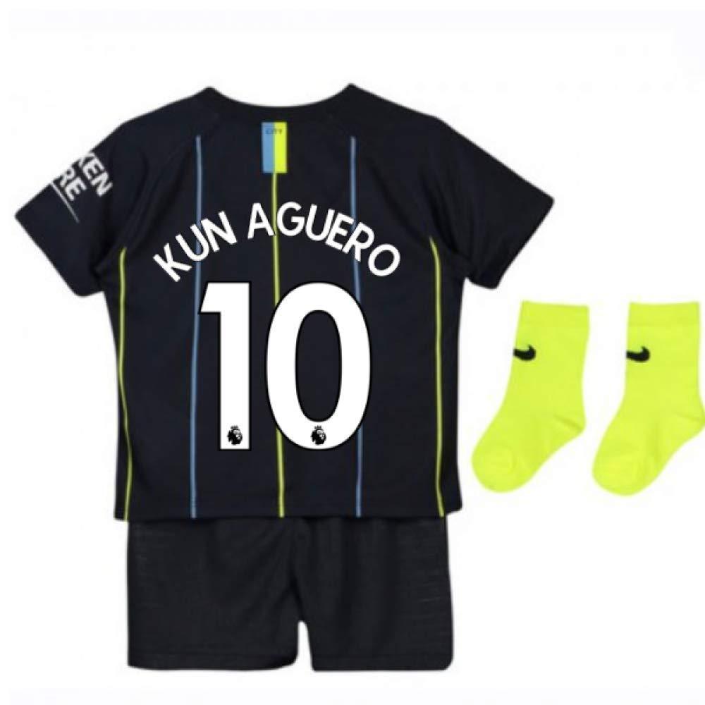 UKSoccershop 2018-2019 Man City Away Nike Baby Kit (Sergio Aguero 10)