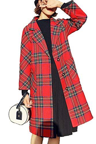 Women Wool Outwear Winter Casual Long Sleeve Plaid Three-Quarter Coats Red