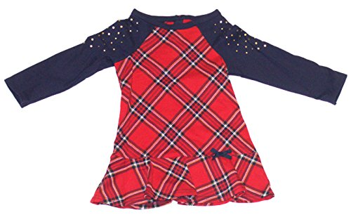 Hartstrings Girls' Toddler Plaid Print French Terry Dress, Christmas Red, 2T (Hartstrings Cotton Dress)