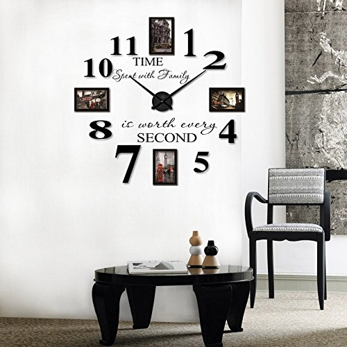 Charming Reliable_E Inspirational Quotes Wall Sticker Photo Frame DIY 3D Wall Clock  For Home Decor (black) Part 19