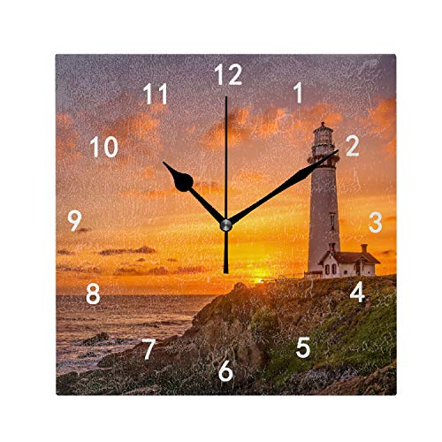 OMWEED Lighthouse at Dusk Clock Wall Mount 7.87