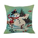 Merry Christmas Throw Pillow Cases Pgojuni Cushion Cover Cotton Linen Pillow Cover 1pc 45cmx45cm (B)