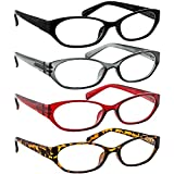 Reading Glasses for Women and Men - Best 4 Pack Readers with Spring Hinge Arms
