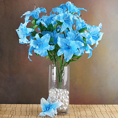 Efavormart 54 Extra Large Lilies Real Looking Artificial Lily Flowers for DIY Wedding Bouquets Centerpieces - 6 Bushes - Turquoise