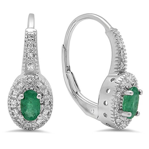 Dazzlingrock Collection 10K Oval Cut Emerald & Round Cut White Diamond Ladies Halo Style Millgrain Hoop Earrings, White Gold