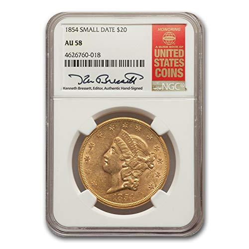1854 $20 Liberty Gold Double Eagle AU-58 NGC (Small Date) G$20 AU-58 NGC
