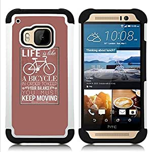 Jordan Colourful Shop - Life Bicycle Poster Hipster Keep Moving For HTC ONE M9 - < Llevar protecci????n de goma del cuero cromado mate PC spigen > -