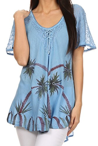 Sakkas Albina Island Relaxed Fit Embroidery Cap Sleeves Blouse/Top
