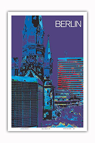 Pacifica Island Art Berlin, Germany - The City at Night - Kaiser Wilhelm Memorial Church - Vintage Travel Poster c.1973 - Master Art Print - 12in x 18in