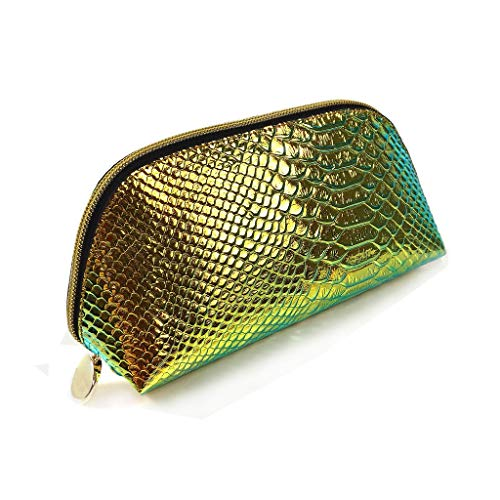 (Remeehi Hologram Snake Skin Leather Hand Bag Zipper Makeup Organizer Clutch Purses for Women (Hologram Green))