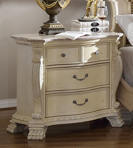 Meridian Furniture Monaco-NS Monaco Solid Wood 4 Drawer Nightstand with Traditional Hand Carved Designs and Genuine Marble Top, Rich Antique White ()