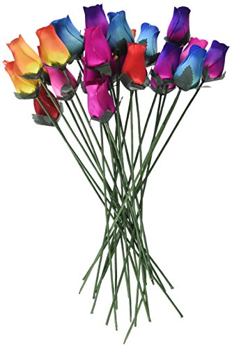 2 Dozen 24 Mixed Color Bouquet of Wooden Rose Buds Artificial Flower ()
