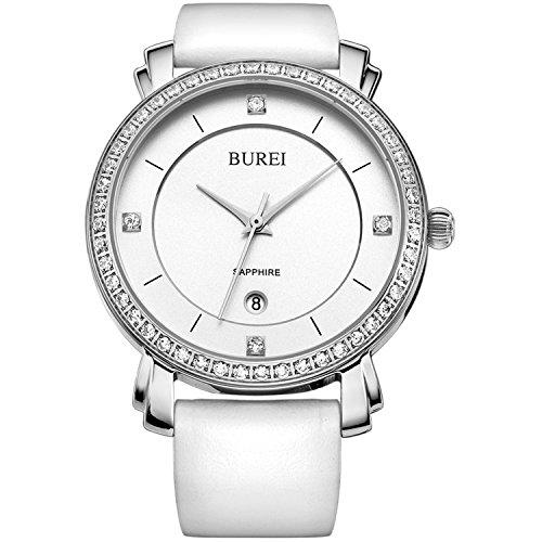 BUREI Women's Elegant Dress Wirst Watch Diamond Bezel Date Calendar and White Leather Strap (Watch Leather Calendar Ladies Band)