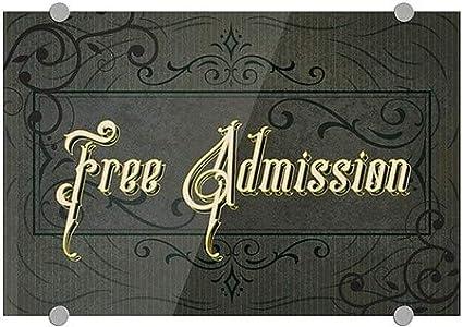 Victorian Frame Premium Brushed Aluminum Sign Free Admission CGSignLab 27x18