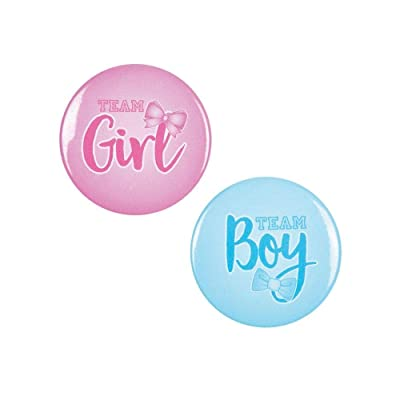 TEAM BOY & GIRL BUTTONS - Jewelry - 12 Pieces: Toys & Games