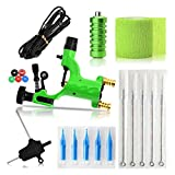 Tattoo Machine,Tattoo Complete Tattoo Kit,Chartsea 1 Set Completed Exquisite Workmanship Tattoo Kit Equipment Tattoo Machine (Gold) (Green)