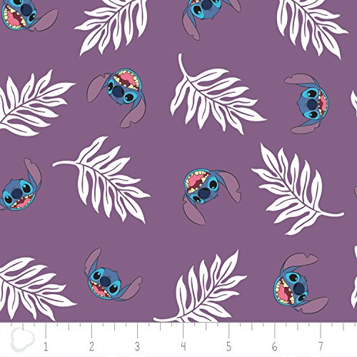 Disney Fabric Lilo and Stitch Fabric Palm Leaves in Wildberry Purple by the -