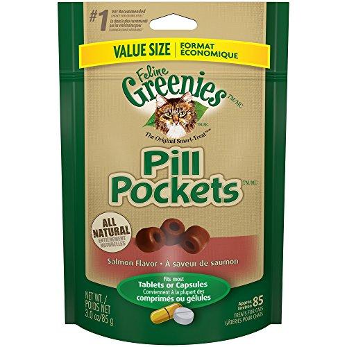 Feline Greenies Pill Pockets Cat Treats Salmon Flavor, 3 Oz. Value Size Pack (85 Treats)
