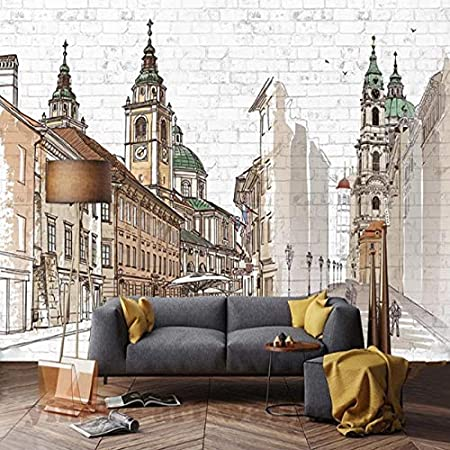 Huytong 3D Wallpaper Living Room Bedroom Wall Sticker Mural Picture Decoration Custom Photo Sofa Tv Background City Building Covering Home Decor 400Cmx300Cm