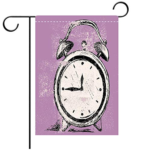 BEICICI Custom Personalized Garden Flag Outdoor Flag Doodle Retro Alarm Clock Figure with Grunge Effects Classic Vintage Sleep Graphic Purple White Black Best for Party Yard and Home Outdoor Decor