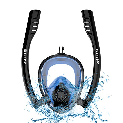 EZ LIFE PRO 2019 Snorkel Mask Full Face Snorkel Gear Set for Men,Women,Kids and Adults. Dry Panoramic 180 Degree View,Anti-Fog,Anti-Leak for Diving and Safe Breathing. (Black+Blue, L/XL)